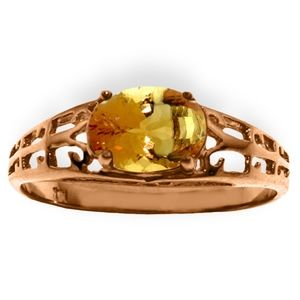 14K. SOLID GOLD FILIGREE RING WITH NATURAL CITRINE